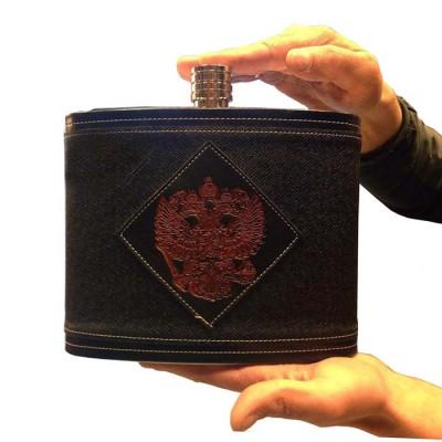Фляга из нержавеющей стали Герб РФ (2,6 литра / 88 унций, черная)