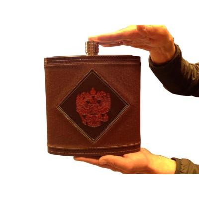 Фляга из нержавеющей стали подарочная - Герб РФ (3,2 литра / 108 унций, коричневая)