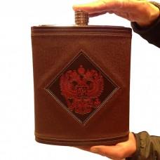Фляга из нержавеющей стали подарочная - Герб РФ (3,8 литра / 128 унций, коричневая)