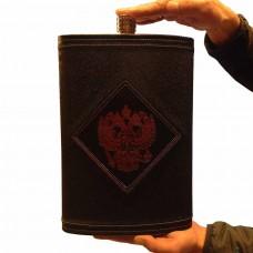 Фляга из нержавеющей стали подарочная - Герб РФ (4,7 литра / 158 унций, черная)