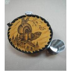 Фляга круглая в кожаном футляре (1 литр, к1ст)