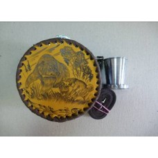 Фляга круглая в кожаном футляре (500 мл, к500ст)