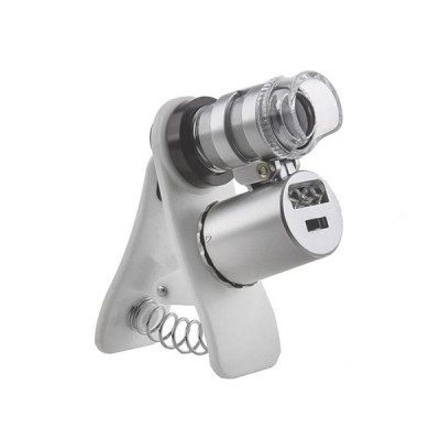 Микроскоп 60x мини с креплением клипсой для смартфона, подсветкой и ультрафиолетом