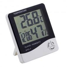Домашняя метеостанция HTC-1, термометр и гигрометр (температура, влажность, часы)