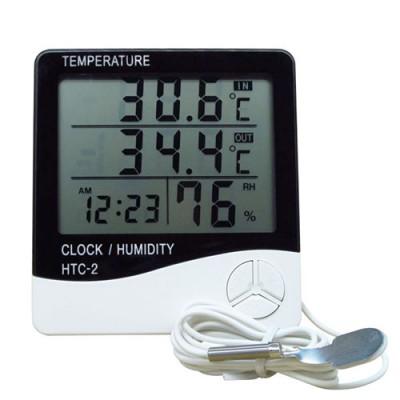 Домашняя метеостанция, термометр и гигрометр с выносным датчиком (температура, влажность, часы) - HTC-2