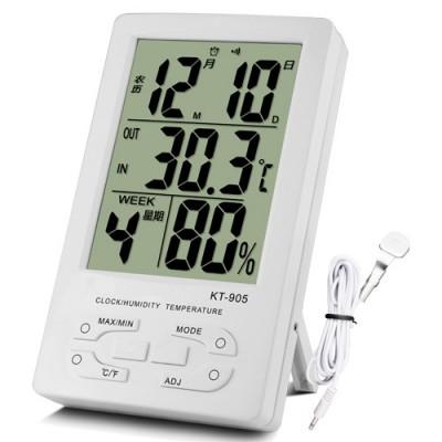 Домашняя метеостанция, термометр и гигрометр с выносным датчиком (температура, влажность, часы, календарь) КТ-905