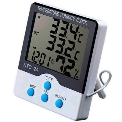Домашняя метеостанция HTC-2A - термометр и гигрометр с выносным датчиком (температура, влажность, часы)
