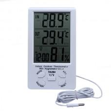 Домашняя метеостанция TA298, термометр и гигрометр с выносным датчиком (температура, влажность, часы)