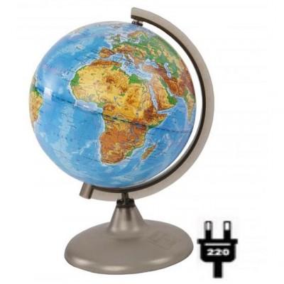 Глобус физический (диаметр 210 мм, на дуге, подсветка)
