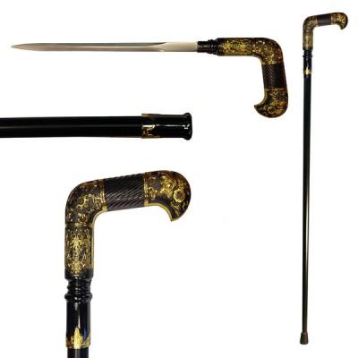 Трость с клинком Монарх (золотой, черный)