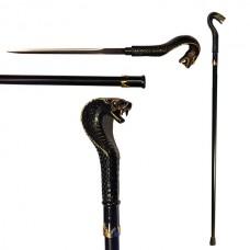 Трость с клинком Кобра (черный, золотой)