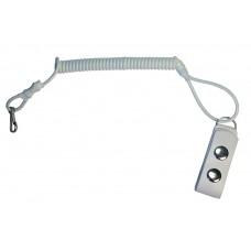 Шнурок страховочный (тросик, ремешок, тренчик, непотеряшка) для мелких предметов спиральный (пружинный, витой) с карабином и кожаной шлейкой - белый
