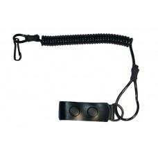 Шнурок страховочный (тросик, ремешок, тренчик, непотеряшка) для мелких предметов спиральный (пружинный, витой) с карабином и кожаной шлейкой - черный
