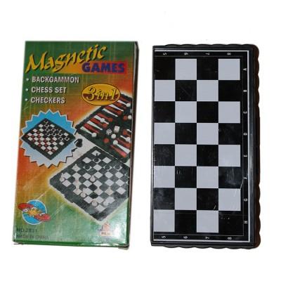 Шахматы, шашки, нарды магнитные 3 в 1
