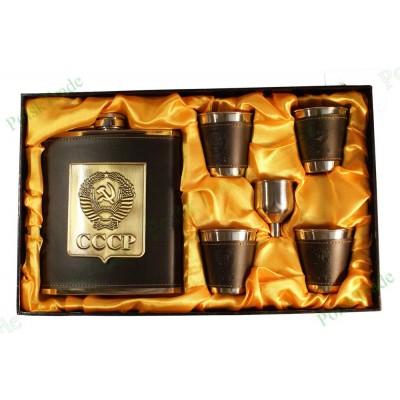 9. Подарочный набор Золотой СССР - Фляга, воронка и 4 стакана