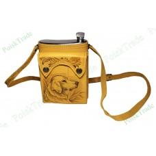 Подарочная фляга в кожаном футляре - Верный пёс - 512 мл