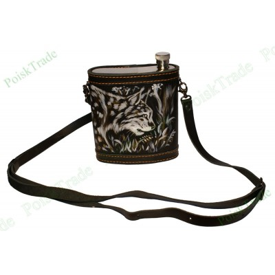 Подарочная фляжка в кожаном футляре - Рысь на охоте - 455 мл
