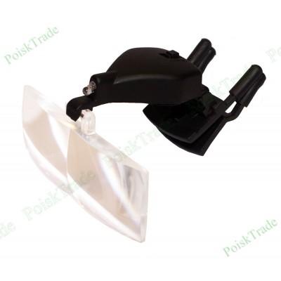 Налобная лупа очки с комплектом линз и креплением для очков 1,5-3,5х
