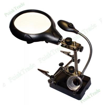 Станок для пайки с лупой - съемными линзами и LED подсветкой - Третья рука