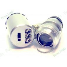 Мини лупа микроскоп 60x с подсветкой и детектором валюты