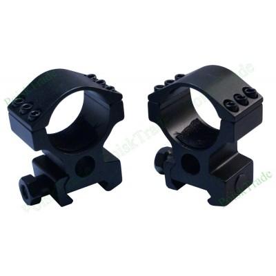 Комплект колец для оптики на планку Вивер \ Пикатинни (диаметр 30 мм)