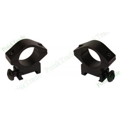 Комплект кронштейнов типа Кольцо (диаметр 25 мм) для крепления оптики на планку Вивер - Пикатинни